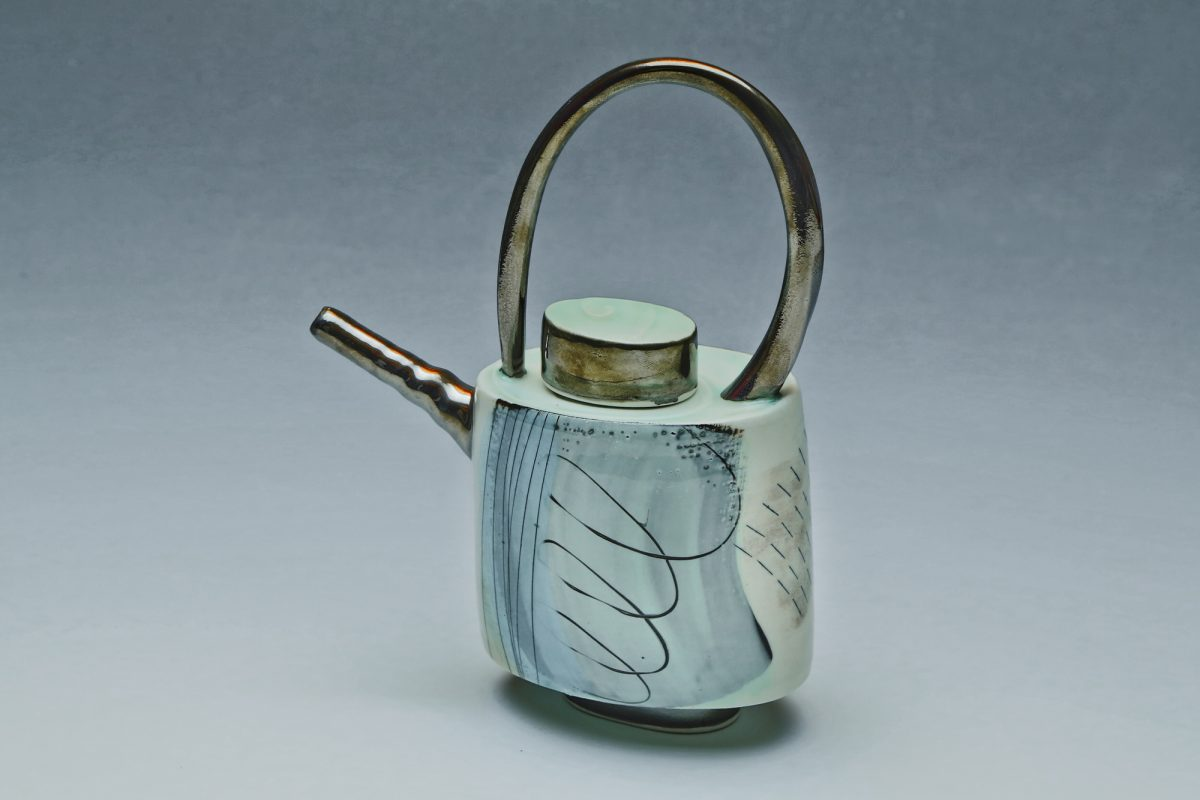 Wheel-thrown ceramic teapot by Tricia Thom